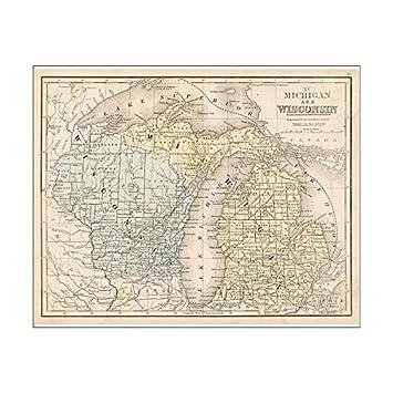 Michigan And Wisconsin Map.Amazon Com Media Storehouse 20x16 Print Of Wisconsin Michigan Map