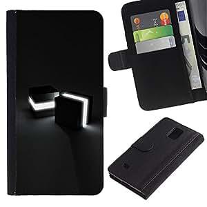 Billetera de Cuero Caso Titular de la tarjeta Carcasa Funda para Samsung Galaxy Note 4 SM-N910 / Light Cubes / STRONG