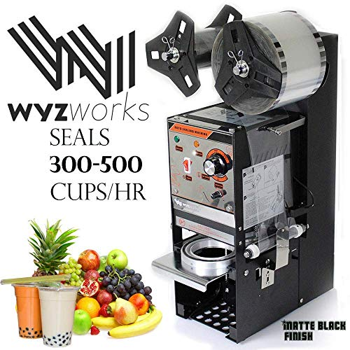 WYZworks 350W Semi Automatic Tea Cup Sealing Machine 300-500 cups/hr for Bubble Boba Milk Tea Coffee Smoothies Sealer (Cup Sealer Film)