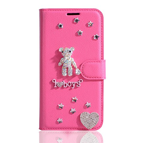 (HTC Bolt Case,HTC 10 Evo Case,Gift_Source [Card Slot Pouch] Luxury PU Leather Purse Bling Shining Diamond Wallet Folio Case Flip Stand Protective Cover for HTC Bolt / 10 Evo [Crystal Bear])