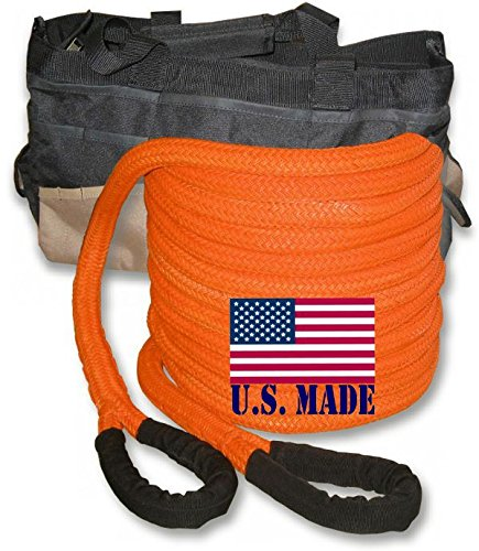 BILLET4X4 U.S. Made 1 inch X 30 ft Safety Orange PolyGuard Kinetic Energy Recovery Rope - Snatch Rope with Heavy-Duty Carry Bag (4x4 Recovery) (Best Kinetic Recovery Rope)