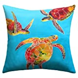 DENY Designs Clara Nilles Tie Dye Sea Turtles Outdoor Throw Pillow, 18-Inch by 18-Inch