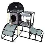 Mochiglory 5 in 1 Multi-Functional Cat Tree Condo Furniture Combined with Cat Bed, Cat Climber, Peek Holes, Scratching Post and Dangling Toy