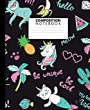 img - for Composition Notebook: Nifty Wide Ruled Paper Notebook Journal | Cute Tropical Cat & Unicorn Wide Blank Lined Workbook for Teens Kids Students Girls for Home School College for Writing Notes. book / textbook / text book