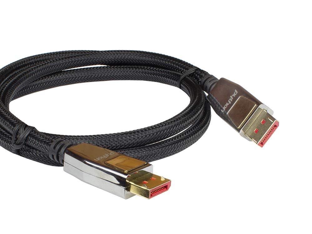 Cavo DisplayPort 1.4 PYTHON Series Premium spina dorata schermatura tripla colore: Nero intreccio di nylon connettore interamente in metallo con chiusura 1 m in rame 8 K @ 60 Hz//4 K @ 240 Hz