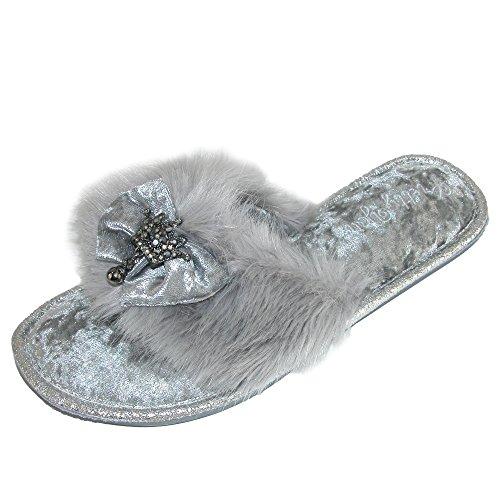 Zapatillas De Vestir Para Mujer Pretty You London Con Detalle De Lazo Y Piel Sintética Gris