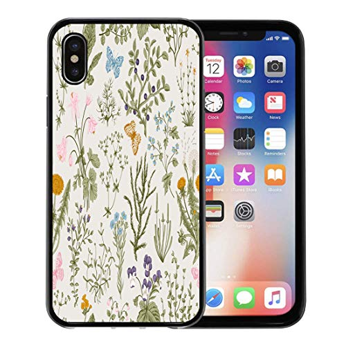 Semtomn Phone Case for Apple iPhone Xs case,Flora Vintage Floral Pattern Herbs and Wild Flowers Botanical Engraving Colorful Victorian for iPhone X Case,Rubber Border Protective Case,Black
