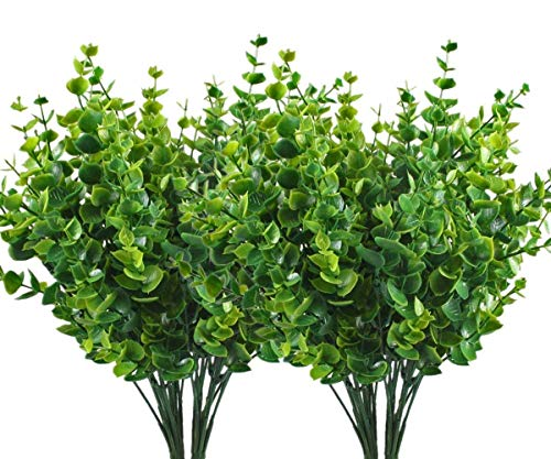 CATTREE Artificial Shrubs Bushes, Plastic Eucalyptus Leaves Fake Green Plants Wedding Indoor Outdoor Home Garden Verandah Kitchen Office Table Centerpieces Arrangements Christmas Decoration 4 pcs