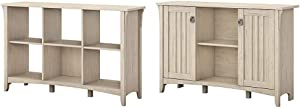 Bush Furniture Salinas 6 Cube Organizer in Antique White & Salinas Accent Storage Cabinet with Doors in Antique White