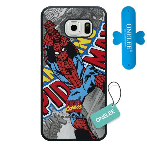 Samsung Galaxy S6 Case, Onelee Customized Marvel Comics Spider Man Black Hard Plastic Case Only Fit For Samsung Galaxy S6[Free One Touch Silicone Stand]