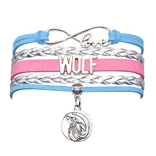 HHHbeauty Wolf Bracelet Jewelry Leather Infinity Love Wolf Gifts Wolf Jewelry Bracelet Gifts for Women, Girls, Men, Boys Including Most Popular Infinity Love Charm, Wolf Charm (Blue,Silver and Pink)