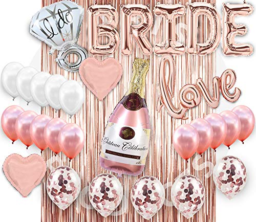 (Bridal Shower Decorations| Bachelorette Party Decorations Supplies| Bridal shower Balloon Kit| Rose Gold Party Decorations| Bride banner| Foil curtain| Rose gold Champagne Bottle Balloon| Foil Curtain)