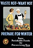 "WA99 Vintage WW1 Waste Not Want Not Prepare For Winter - Preserve Food World War 1 Poster Re-Print - A2+ (610 x 432mm) 24"" x 17"""