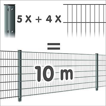 Zaun 10m 4 Doppelstabmatten 5 Pfosten 656 Hohe 63cm Oberflache