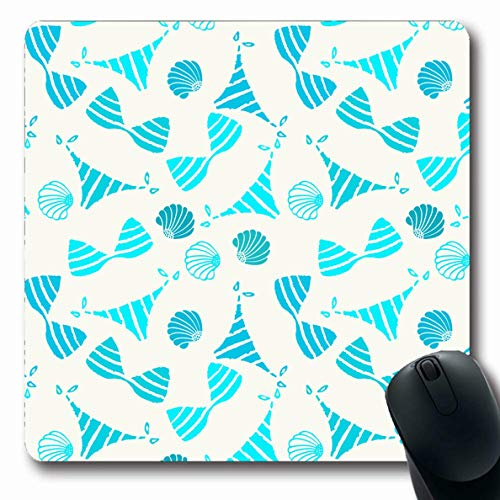 Ahawoso Mousepads for Computers Pants Blue Azure Bikini Swimsuits Sea Shells Beach Bivalve Bra Clam Closeup Design Oblong Shape 7.9 x 9.5 Inches Non-Slip Oblong Gaming Mouse Pad