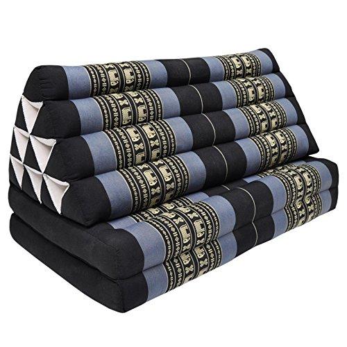 Coussin Thailandais triangle XXL avec assise 2 plis, détente, matelas, kapok, fauteuil, canapé, jardin, plage Noir/Violet avec éléphants (81317) by Wilai GmbH