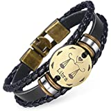 Trendsmax 12 Constellation Libra Leather Bracelet for Men Women Multilayer Braided Rope Zodiac Horoscopes Wristband Alloy Charm