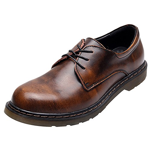Men's Casual Vintage Brown up Lace women Women's Jamron Oxfords Leather Unisex Derby Toe Shoes Round AOYpHpEqw