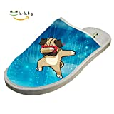 Hip Hop Dab Pug Cotton Slippers Winter Warm Thick Slipper House Slippers Domestic Indoor Shoes Slippers 12 D(M) US