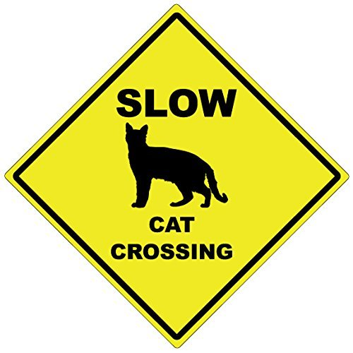 Slow Cat Crossing - 15 Diamond Aluminum Caution Sign - Made In The USA Dark Spark Decals