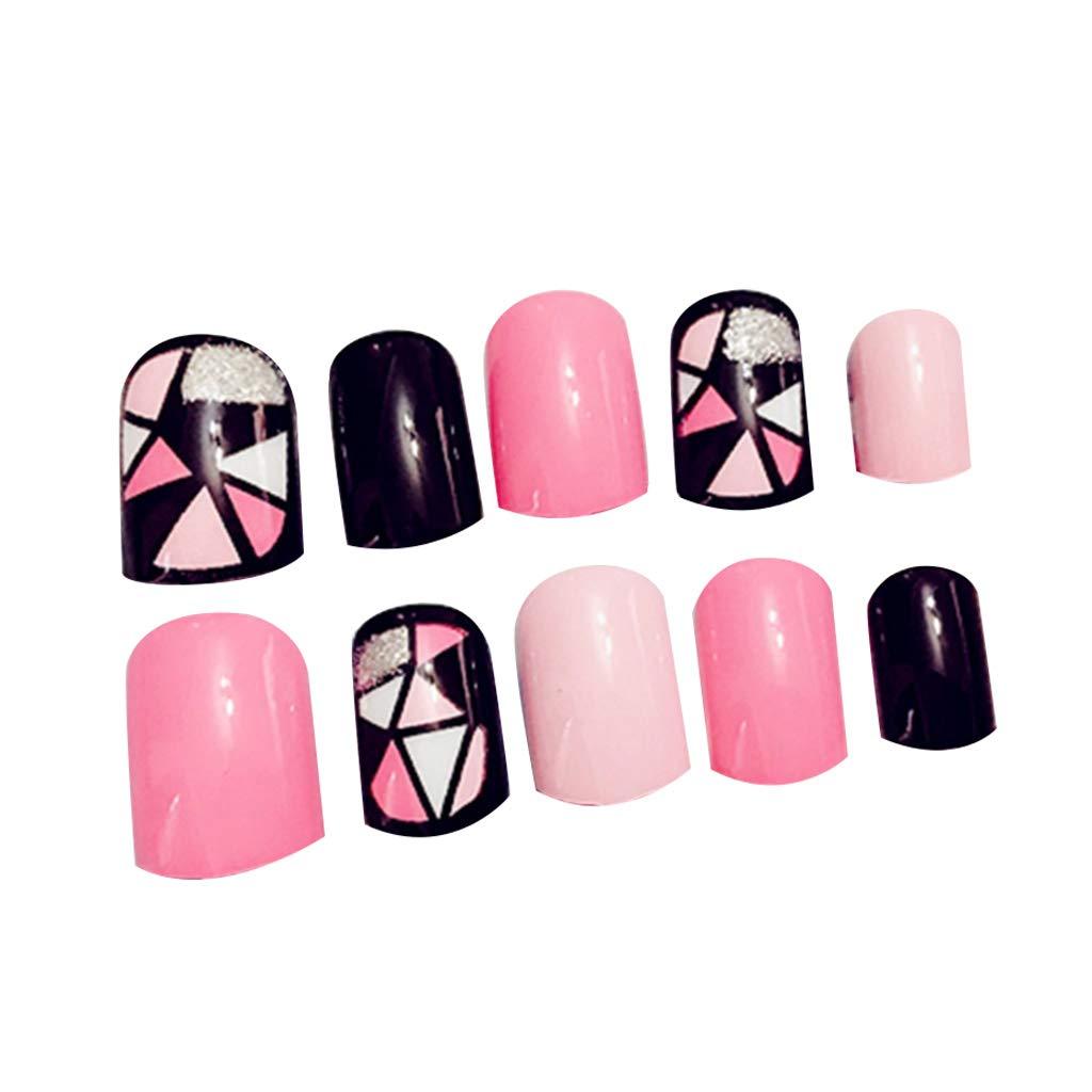 CoralStore - 24 uñas postizas de acrílico, color negro y ...