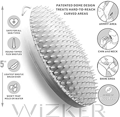 WIZKER Brush: Eliminates Razor Bumps and Ingrown Hairs, FirmFlex Exfoliating Bristles, Sealed Box