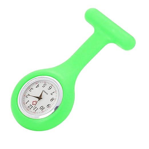 Loolik Cuarzo Relojes,de Enfermera Broche de Cuarzo de Silicona Relojes (Verde)
