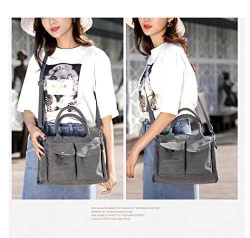 Simple Viaggio Grey Simple Handbag Borsa Messenger Bag Casual Bag Canvas Handbag Ladies Shoulder Wild Multifunzionale Simple Da FLHT qwgcZXSWq