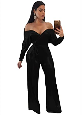 d78dd24b4f3a Amazon.com  Women Casual Sexy Off Shoulder High Waist Long Pant Wide Leg  Ruffle Party Lace Jumpsuits Rompers  Clothing
