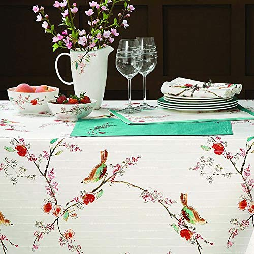 Lenox Simply Fine Spill Proof Chirp Tablelcoths - Assorted Sizes Multi Color on White (60 x 120)