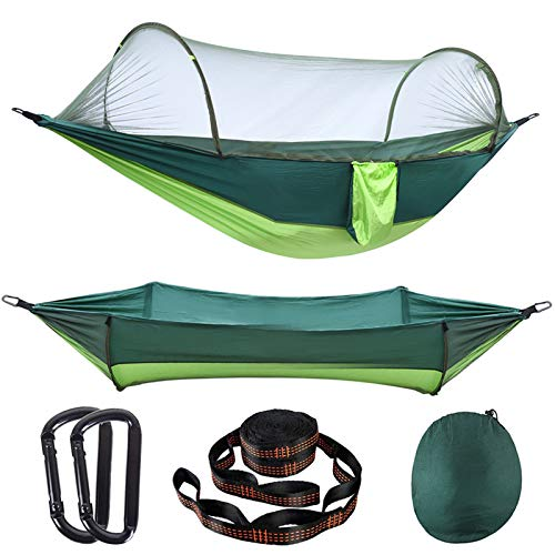 AMZQJD Camping Hammock with Automatic Pop-up Mosquito Net, Portable Single & Double Hammock with Tree Straps, Carabiners…