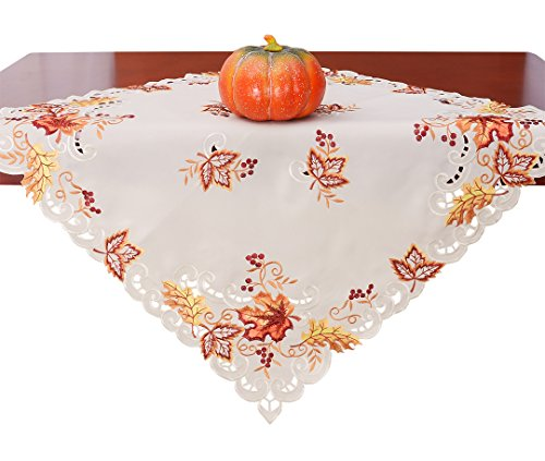 Grelucgo Elegant Thanksgiving Holiday Tablecloth, Embroidered Maple Leaves Fall Table Linen, Square 33 by 33 Inch