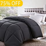 Alternative Comforter - Soft Goose Down Alternative Comforter Luxury Hotel Collection Reversible Duvet Insert with Corner Tab,Warm Fluffy for All Season,Charcoal,Full/Queen,88 by 88 Inches