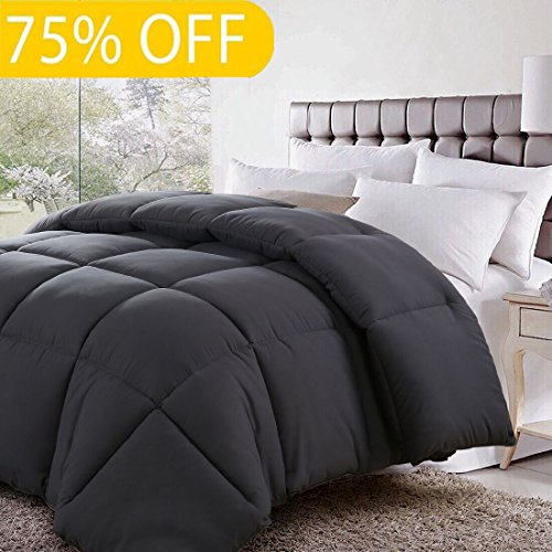 Queen/Full Soft Goose Down Alternative Quilted Comforter Luxury Hotel Collection Reversible Duvet Insert with Corner Tab,Warm Fluffy Hypoallergenic for All Season,Charcoal,88 by 88 Inches (Warm Comforter)