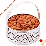 Ghasitaram Gifts Rakhi Gifts For Brother Rakhi Dryfruits Rakhi Dry fruits Hamper - Silver Small Basket with with Red Pearl Rakhi and Almonds