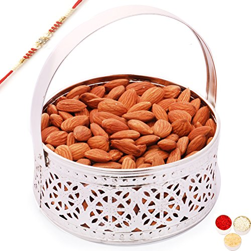 Ghasitaram Gifts Rakhi Gifts For Brother Rakhi Dryfruits Rakhi Dry fruits Hamper - Silver Small Basket with with Red Pearl Rakhi and Almonds by Ghasitaram Gifts
