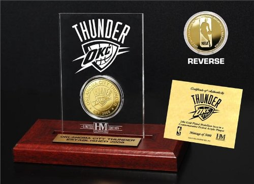 NBA Oklahoma City Thunder Etched Acrylic Gold Coin, 9'' x 7'' x 2'' by The Highland Mint