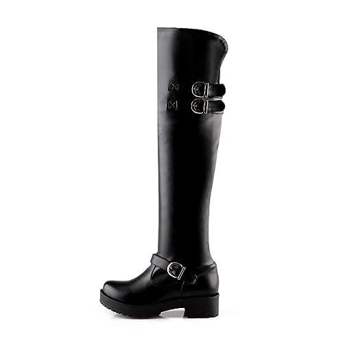 YE Sexy Botte Cuissardes Longue Stretch Boots Femme Talon Haut Plateforme  Chaussures Hiver(Noir, 7a67d586762c