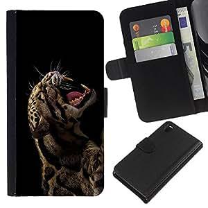 EJOY---La carpeta del tirón la caja de cuero de alta calidad de la PU Caso protector / Sony Xperia Z3 D6603 / --Fierce Rawr rugido Leopardo Animal