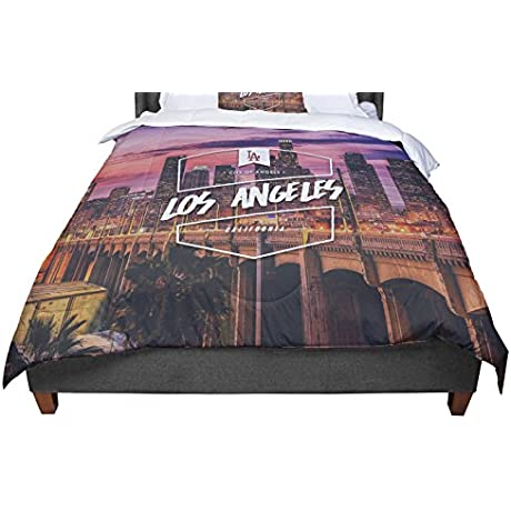 KESS InHouse KESS Original Los Angeles Ll Pink Purple Queen Comforter 88 X 88