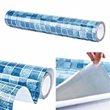 BESTERY Self-adhesive Mosaic Kitchen Backsplash Tiles Backing Shelf Liner Drawer Table Bathroom Wallpaper Kitchen Counter Paper 17.8in X98in (Blue)