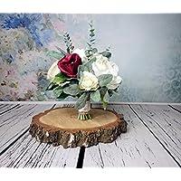Medium Rustic Wedding Bouquet Silk Flowers Burgundy Ivory Greenery