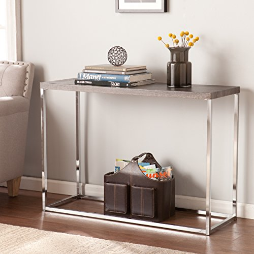 - Glynn Sofa Console Table - Sun Bleached Gray Top w/ Chrome Metal Base - Coastal Style