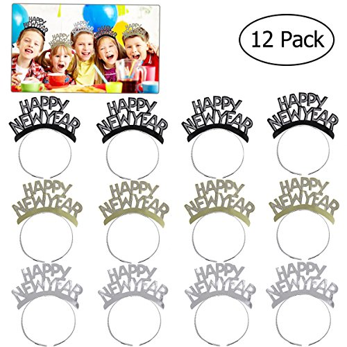 Tinksky HAPPY NEW YEAR Headband Tiara New Years Party Favors Gold Silver Black 12 Pieces ()