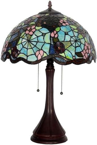 Lámpara de mesa vintage de vidrieras Jardín para entrada Hall Cama ...