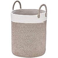 La Jolíe Muse Aufbewahrungskorb Wäschekorb aus Baumwolle Seil, H40 x D36cm Stabil und Haltbar, Für Wohnzimmer Kinderzimmer Badzimmer
