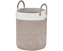 LA JOLIE MUSE Woven Basket Rope Storage Baskets - Tall Cotton Basket 16 x 14 x 14 Inches, Laundry Basket for Blanket, Kids To