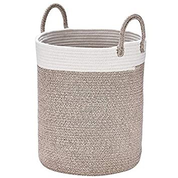 Cestos de lavadora para ropa sucia tejidas en algodón, grandes H38 x Ø32cm, Toallas de baño, regalo para juguetes en terracota: Amazon.es: Hogar
