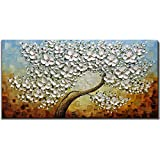 V-inspire Art, 24X48 Inch Oil Paintings on Canvas White Mapple Tree Flowers Art 100% Hand-Painted Abstract Artwork Floral Wall Art For livingroom Bedroom Dinning Room Decorative Pictures Home Decor
