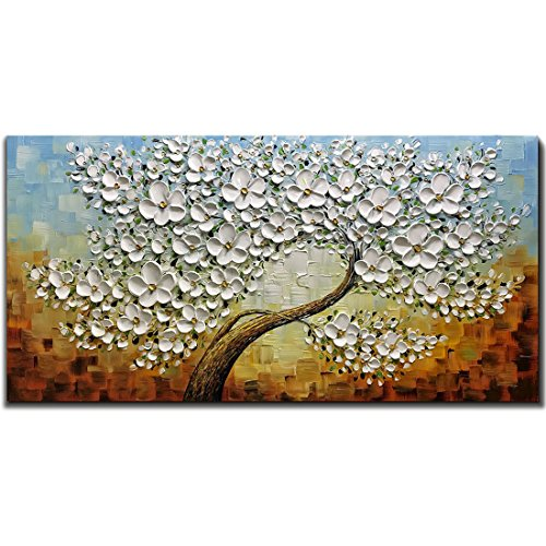 Tree Artwork (V-inspire Art, 24X48 Inch Oil Paintings on Canvas White Mapple Tree Flowers Art 100% Hand-Painted Abstract Artwork Floral Wall Art For livingroom Bedroom Dinning Room Decorative Pictures Home Decor)